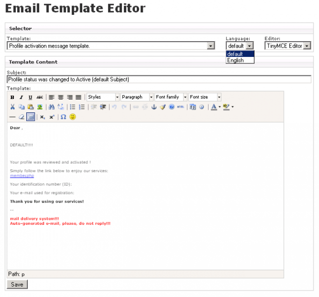 Email Template Editor :: paansystems